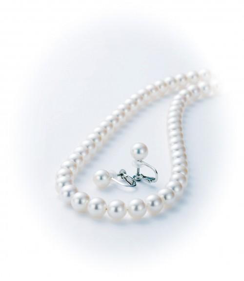 ネックレス&イヤリングセット_7.0-7.5ミリ珠